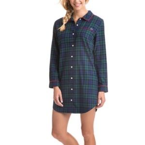 Vineyard Vines Flannel Lounge Pajama Shirt Dress